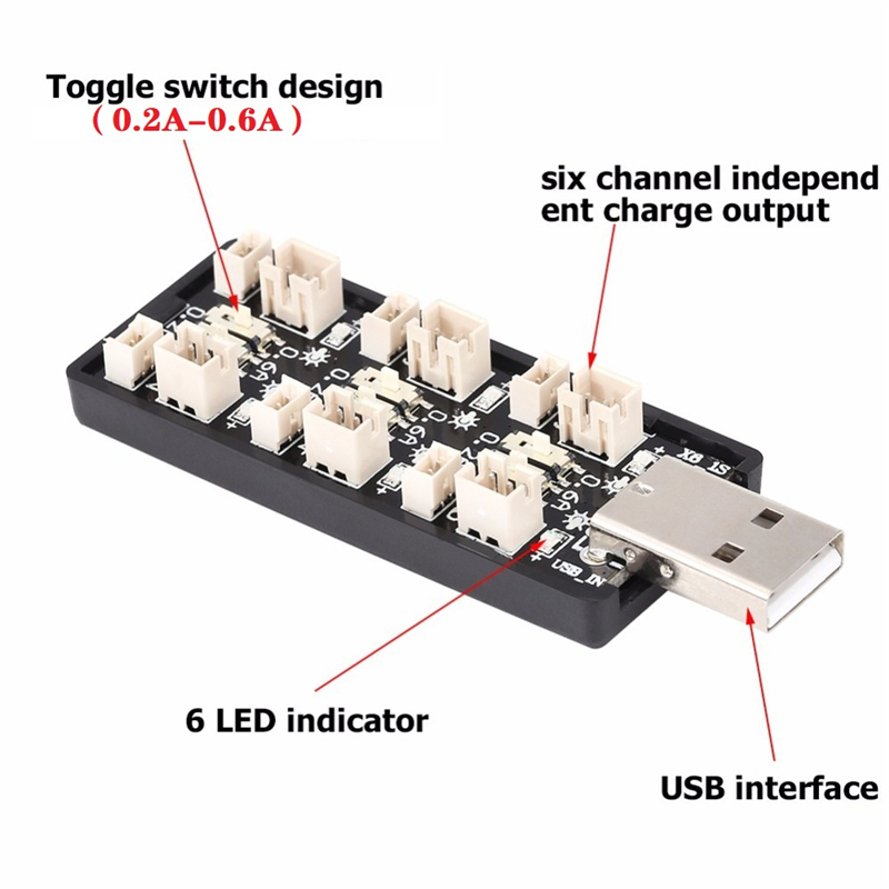 6 x 1S USB Battery Charger LED