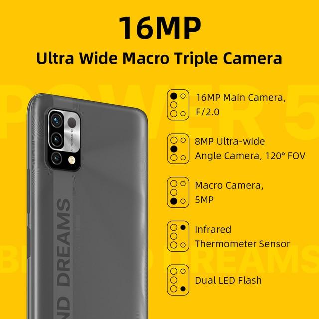 [World Premiere] UMIDIGI Power 5 Global Version Smartphone Android 11 Helio G25 16MP AI Triple Camera 6150mAh 6.53'' Full Screen 4