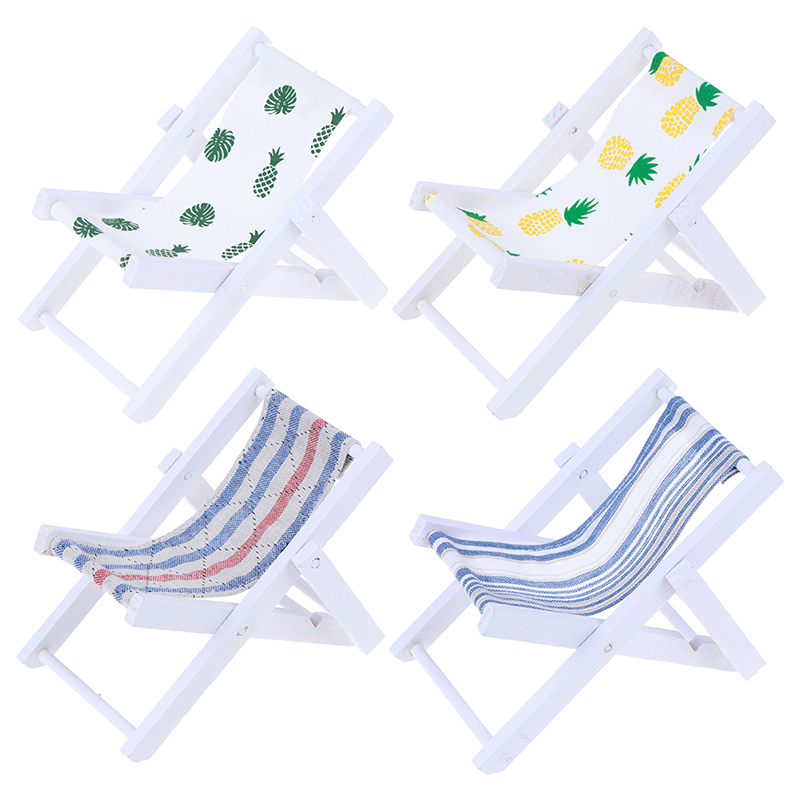 Mini Beach Lounge Chair Dollhouse Miniature Chairs Garden Decoration Furniture Folding Stripe Chair Diy Doll House Decor
