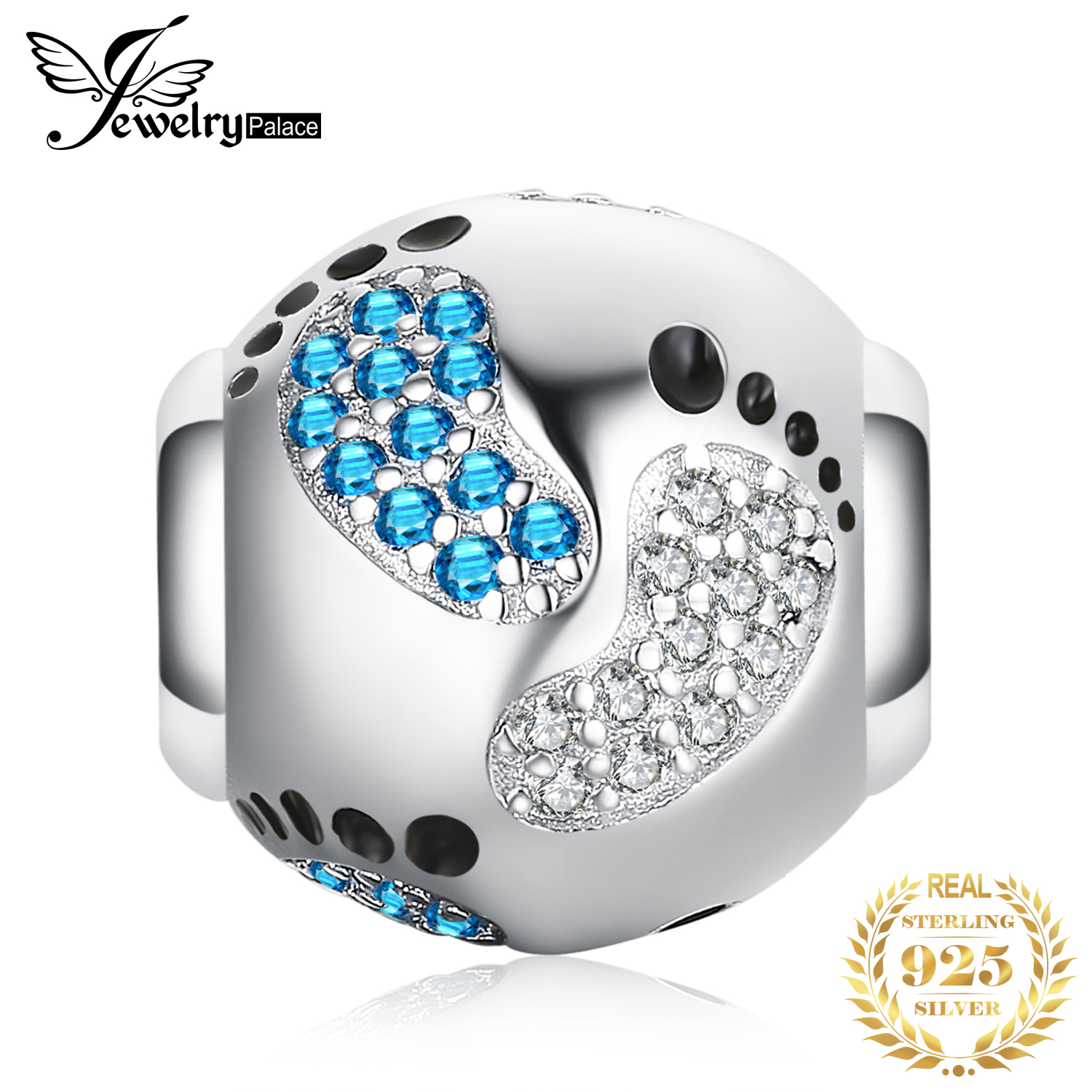JewelryPalace Footprint 925 Sterling Silver Bead Charms Silver 925 Original For Bracelet Silver 925 Original Bead Jewelry Making