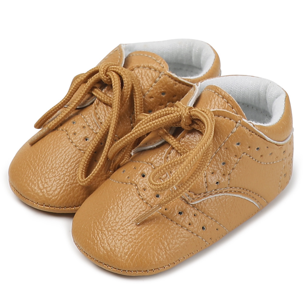 Baby Shoes Newborn Boys Girls Rubber Anti-slip Sole First Walkers Toddler Infant  Lace Up PU Solid Sneakers Crib Shoes