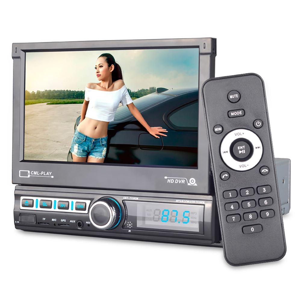 7-дюймовый одинарный 1-Din электрический выдвижной экран, мультимедийный проигрыватель для автомобиля, стерео MP5-плеер, стерео радио, HD мульти...