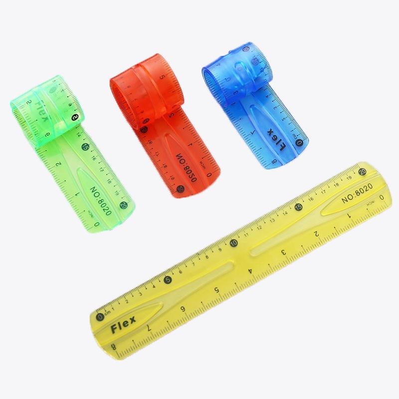 Plastic Straight Ruler Super Elastic Student Stationery Drawing Translucent Infinite Bendable Ruler Random Color 20cm 1PC