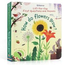 Usborne pierwsze pytania i odpowiedzi jak rosną kwiaty angielski edukacyjne Flap książki z obrazkami dziecko wczesne dziecko czytanie książek