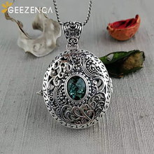 925 Sterling Thai Silver Baroque Open Box Necklace Pendant Crystal Garnet Gemstones Sweater Pendants Fine Jewelry for Women Gift
