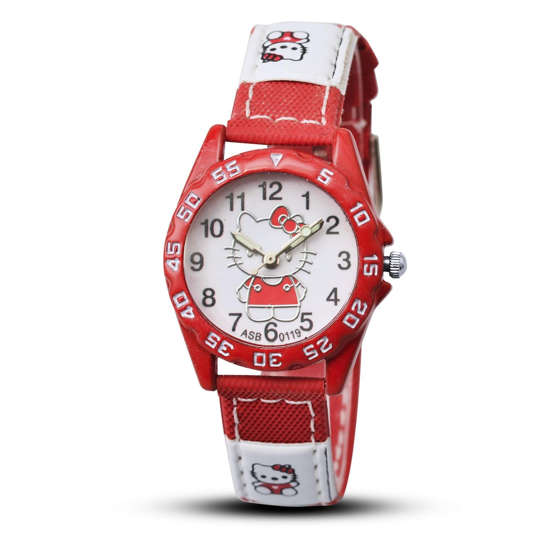 Hello Kitty Women Watch Kids Canvas Strap Sprot Quartz Wrist Watches Gifts For Girls Watch Children's Cartoon Watch Clock