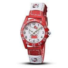 Hello Kitty Women Watch Kids Canvas Strap Sprot Quartz Wrist Watches