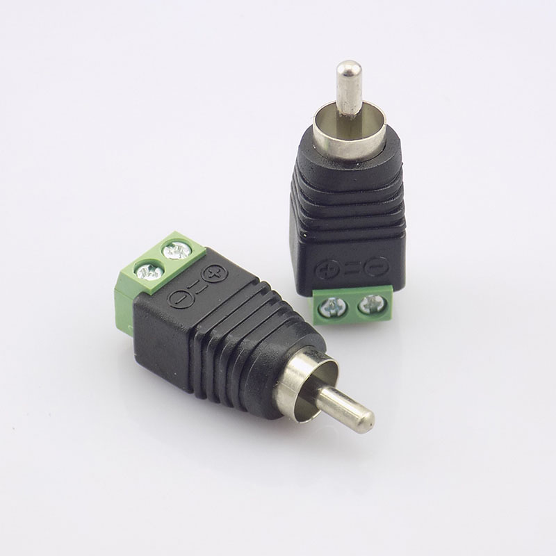 100pcs Coax Cat5 RCA Male Connector Coax AV Plug Adapter BNC UTP Video Balun Camera Connector RCA Adapter Plug N11