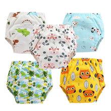 10 pc/lote bebê algodão calças de treinamento calcinha pano à prova dwaterproof água fraldas reutilizáveis toolder fraldas fralda roupa interior do bebê