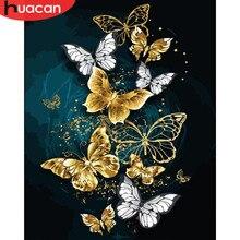HUACAN – peinture acrylique par numéros d'animaux et de papillons, toile d'art mural moderne, sans cadre, pour décoration de maison