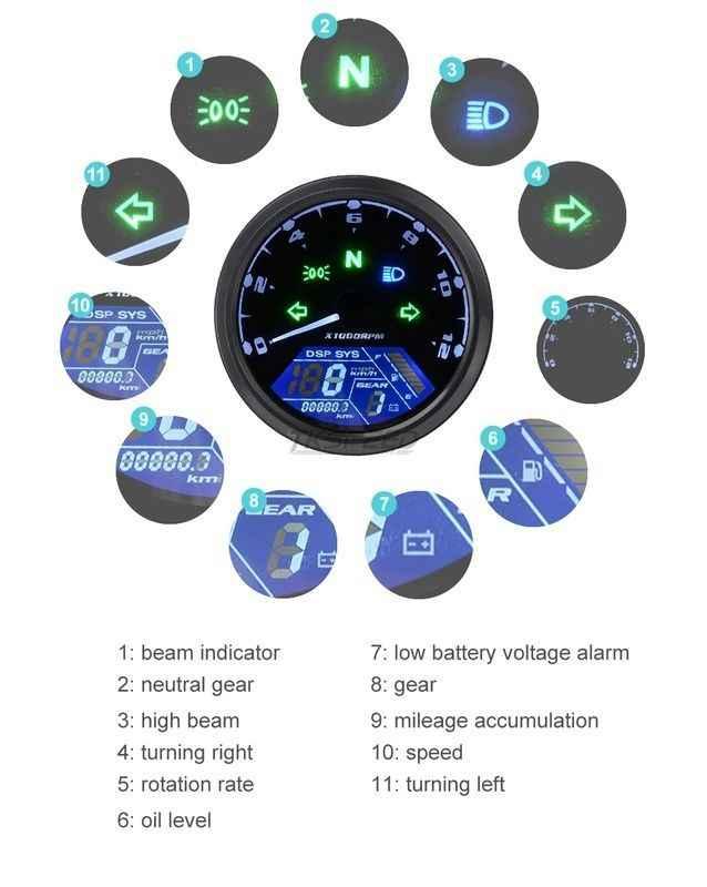 8-18V Universal LCD Digital Tachometer Speedometer Odometer Motorcycle Motorbike 12000RPM Motorcycle Accessories