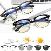 Gafas de sol con bloqueo de luz azul para hombre y mujer, lentes fotocromáticas para leer en ordenador, camaleón, Semi sin montura