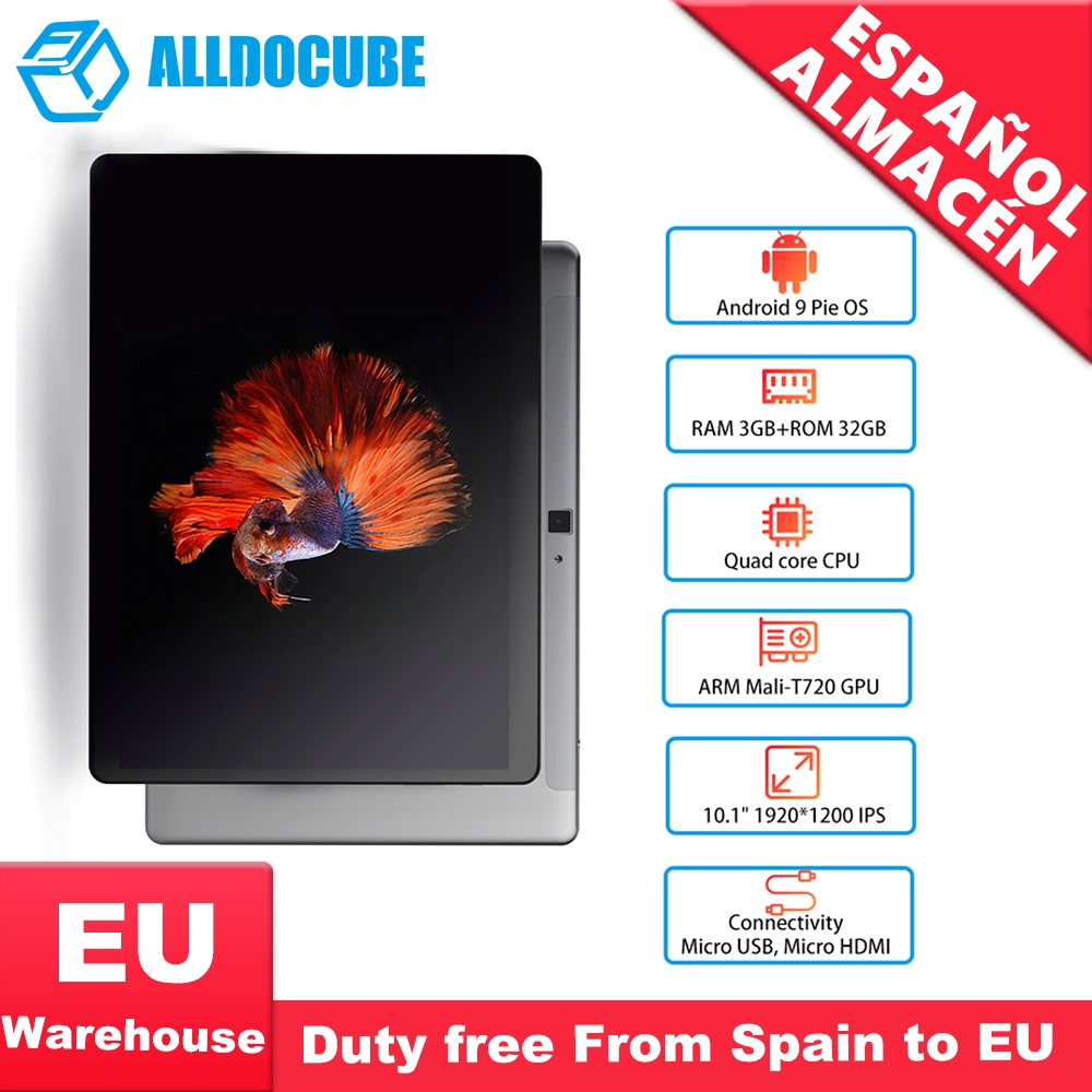 ALLDOCUBE IPlay10 Pro Tablet 10.1 Inch 3GB RAM 32GB ROM Android 9.0 MT8163 Quad Core Tablet PC 1920 X 1200 GPS 5.0MP Camera