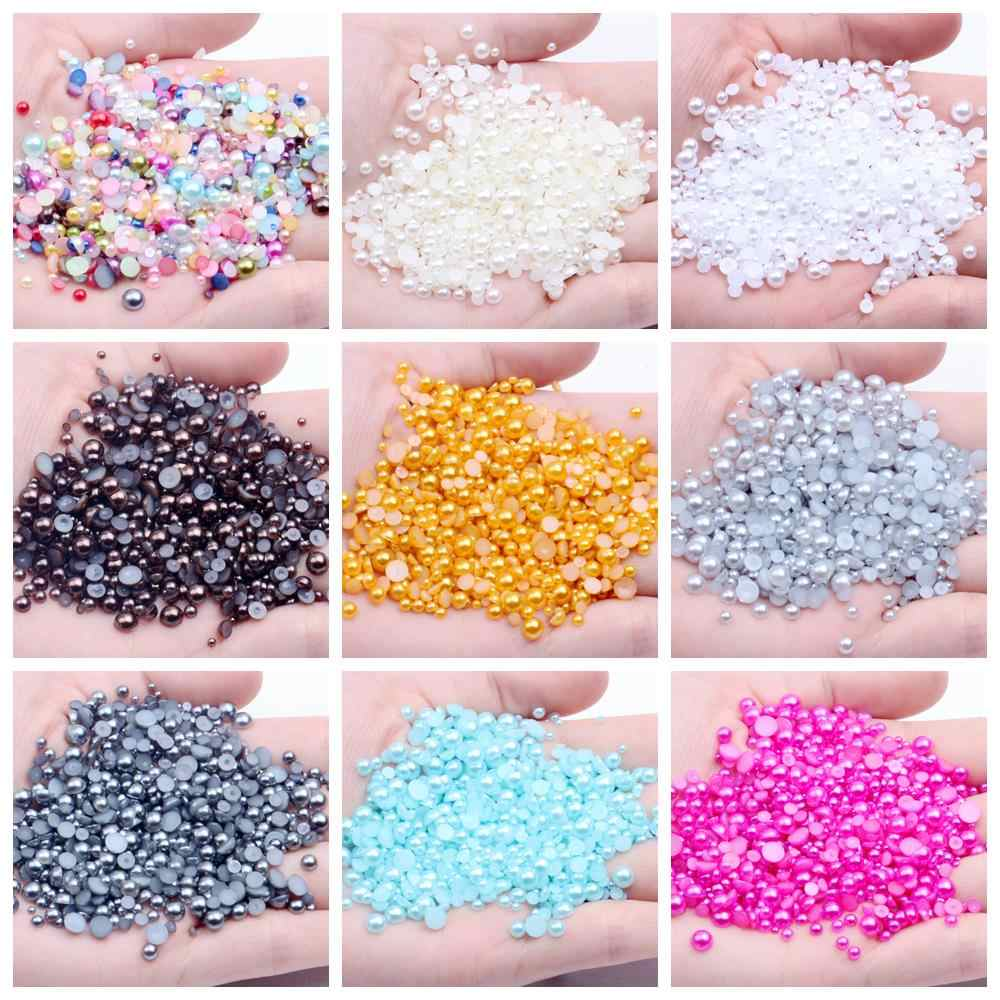 Light Gray Half Round Resin Pearls 2mm-5mm 500pcs/1000pcs Flatback Imitation Craft Beads Use Glue DIY 3D Nails Art Accessories