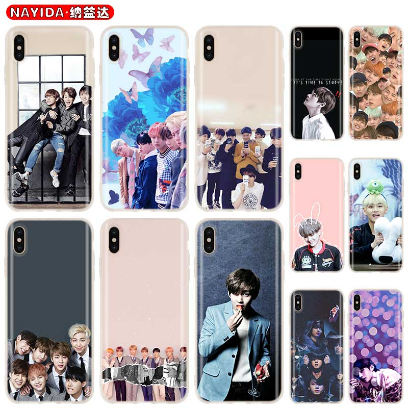 Phone <font><b>case</b></font> soft Cover for <font><b>iPhone</b></font> 11 Pro 2019 X XI XS Max XR 6 7 8 G Plus SE 4 5 S <font><b>Cases</b></font> <font><b>Kpop</b></font> Bangtan Boys Shell Cpque Fundas image