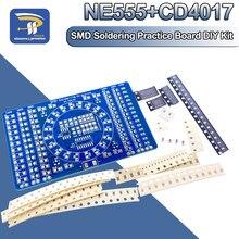 Smd ne555 cd4017 rotativa piscando led componentes de solda prática placa habilidade de treinamento circuito eletrônico suíte kit diy