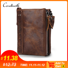 CONTACTS HOT Genuine Crazy Horse Cowhide Leather Men Wallet Short Coin Purse Small Vintage Wallets Brand High Quality Designer