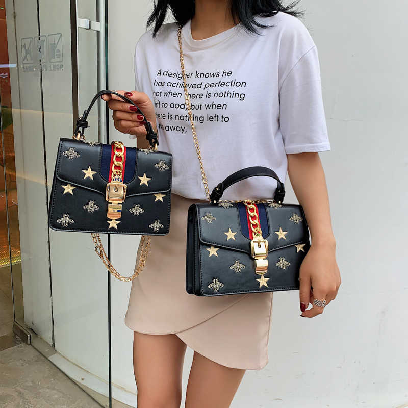 Famous Brand Design Luxury Women Handbag Small Embroidery Ladies Hand Bag Vintage Chains Shoulder Bags Girls