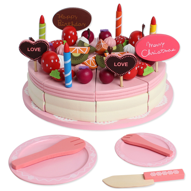 40PCS Wooden Kitchen Cooking Toys For Children Kitchen Food Toys Strawberry Birthday Cake Cut Fruit Toys Christmas Gifts