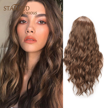 цена на Stamped Glorious Long Blonde Womens Wigs Water Wave Wig Heat Resistant Synthetic Wigs for Women Middle Part Natural Wavy Hair