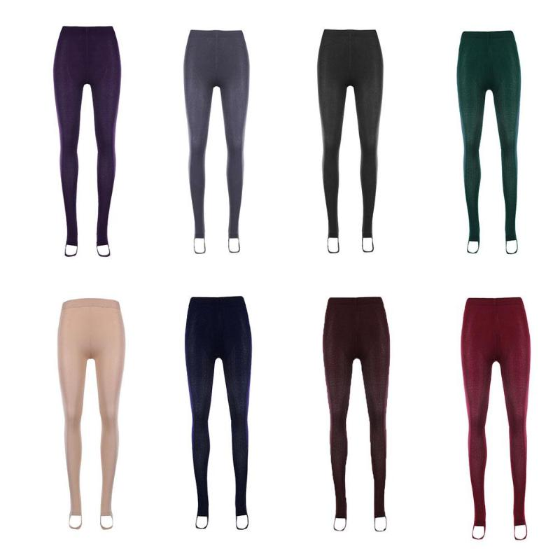 Leggings Female Pants Velvet Thicken Warm High-Waist Winter Slim Elegant Casual Solid