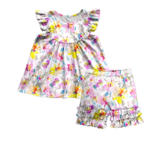 2020 New Summer Children Sets Fashion 2 Pieces Sets Print Girls Suits Baby Cotton Short-sleeved Pants Girls Sets Child Clothes 2017 new girls sets baby two pieces sets children cotton and linen set kids plaid blouses overalls toddler jeans pants 2 7y