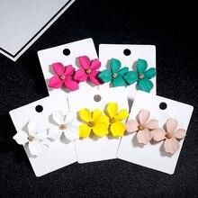 Abdo Korean Style Cute Flower Stud Earrings For Women 2019 New Fashion Sweet Femme Brinco Wholesale Jewelry
