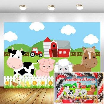 NeoBack Farm Theme Photography Backdrops Red Barn Barnyard Tractor Animals Photo Background Kids Birthday Party Backdrop