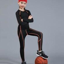 Термобелье для мальчиков и девочек; компрессионная футболка; штаны для фитнеса; быстросохнущая модная одежда; баскетбольная спортивная одежда; комплект из 2 предметов