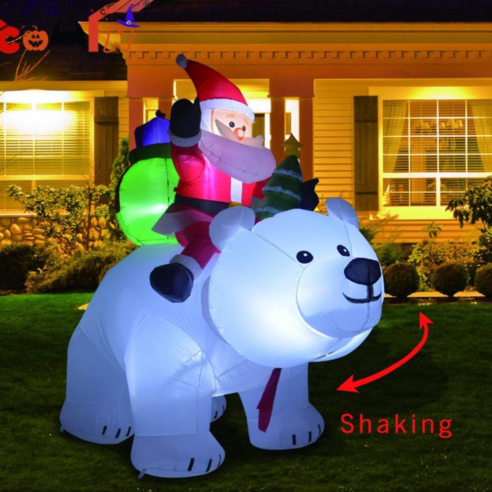 Giant Inflatable Santa Claus Riding Polar Bear 2M Christmas Inflatable Shaking Head Doll Indoor Outdoor Garden Xmas Decoration