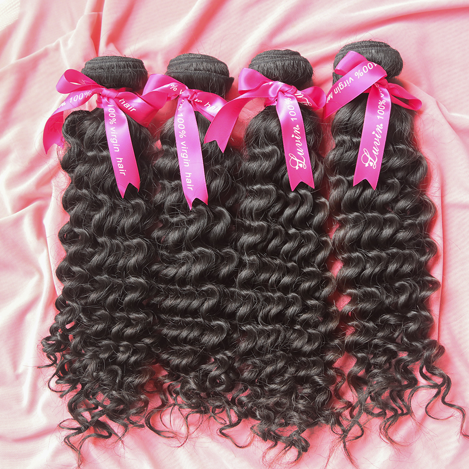 Luvin Deep Wave 8- 30 Inch Malaysian Virgin Hair Natural Color 100% Human Hair Weave Bundles Unprocessed Curly Hair Weft