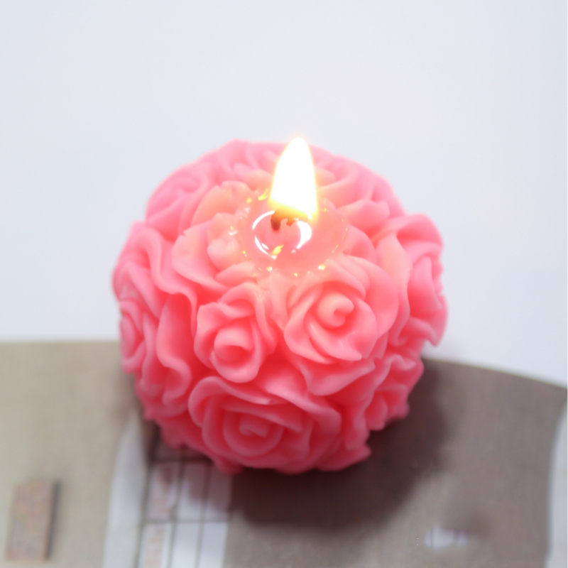 DIY Rose Ball Wedding Candle Silicone Mold Aromatherapy Home Decoration Flower Handmade Candle Making Resin Mould