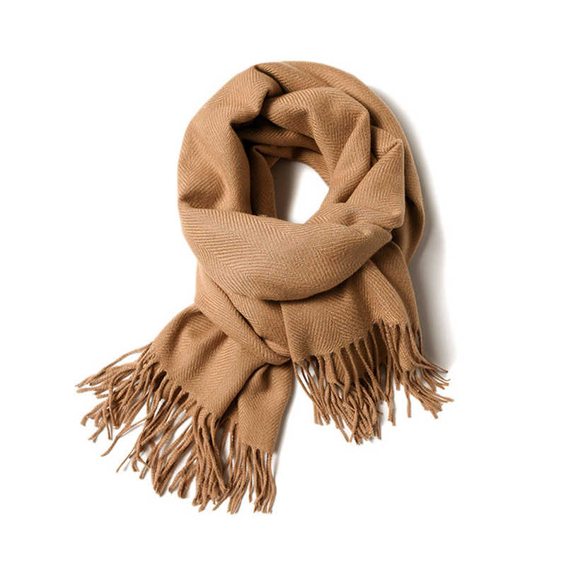 Cashmere Scarf Women 2019 New Winter Thicken Warm Soft Pashmina Shawls Wraps Solid Female Wool Long Tassel Scarves High Quality