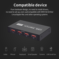 Universal Computer Sharing Keyboard Mouse Hub Laptop For Printer Peripheral Box 2 In 4 Out USB Switcher PC Scanner Hard Drives