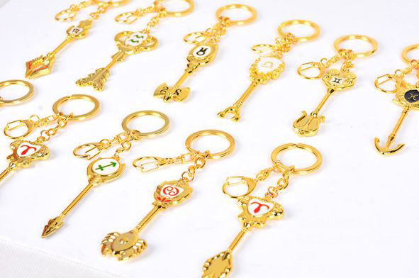 1 Pc Cute Anime Fairy Tail ZODIAC Star Spirit Magician Lucy Summons KEY Twelve Constellation Keychian Cosplay Figure Toys Gift
