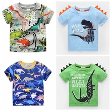 2-8 Years Boys T Shirt Summer Cotton Short Sleeves Cute Dinosaur Kids Shirts Boy Tops Children Clothing Child Casual Clothes
