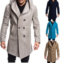 ZOGAA Spring Autumn Men's Woolen Blends Warm Casual Hooded Coat Men's Double-breasted Trench British Style Slim Solid Overcoats(China)