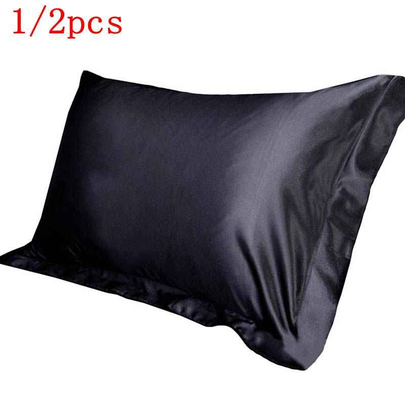 1/2PCS Emulation Silk Satin Pillowcase Single Solid Color Pillow Covers Luxury Pillow Case For Bed Throw 48x74cm