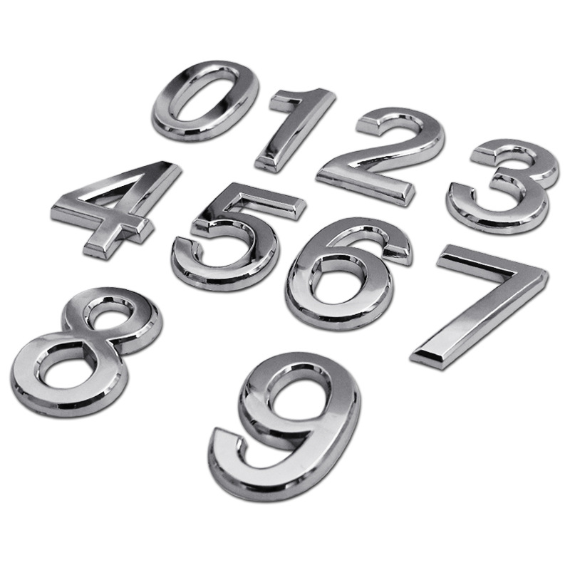 3D Numeral Door Plaque House Drawer Sign Plating Gate Digits 0 to 9 Plastic Number Tag Hotel Home Sticker Address Door Label(China)