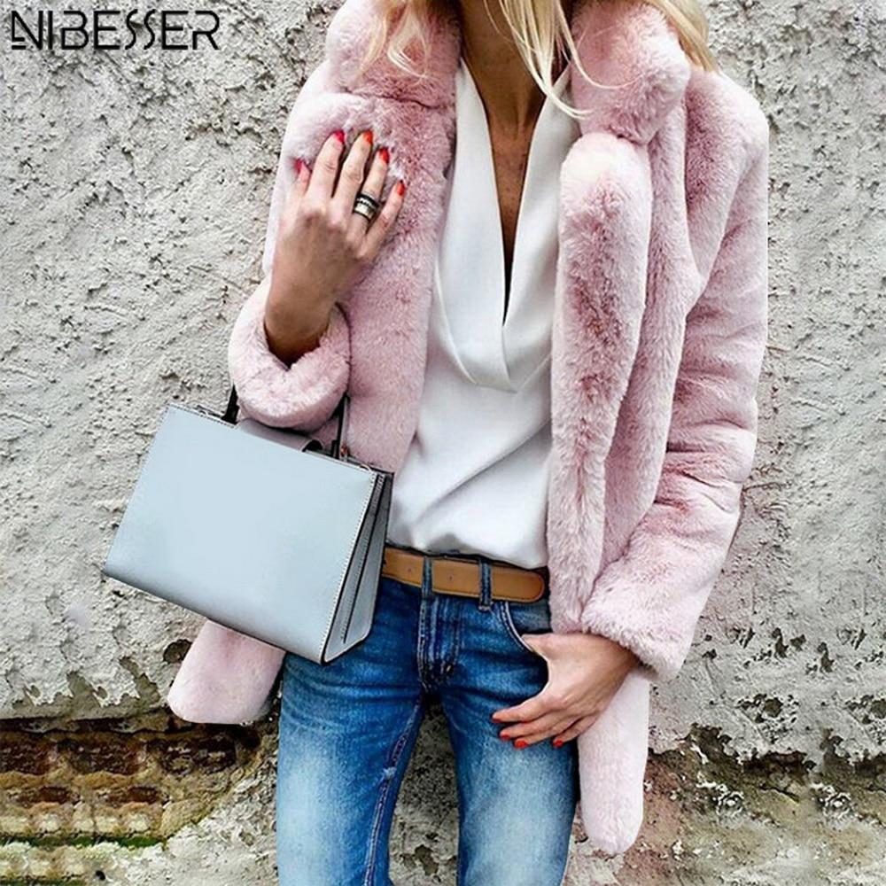 NIBESSER Women Plus Size Colored Casual Faux Fur Coat Ladies 2019 Autumn Winter Elegant Pink Warm Soft Outwear Oversize Jacket