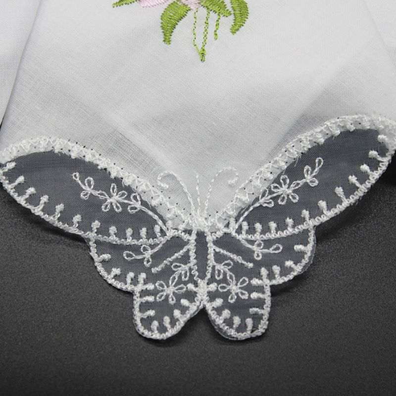 5Pcs Womens Cotton Handkerchiefs Floral Embroidered Butterfly Lace Pocket Hanky C6UD