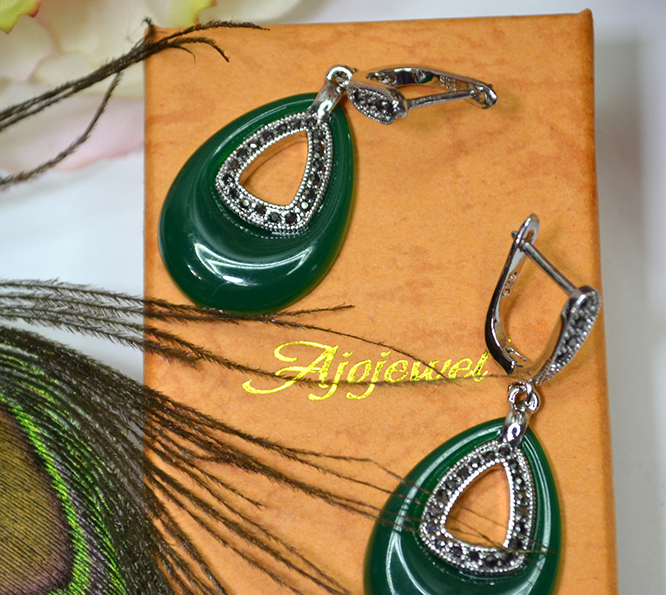 Ajojewel Perhiasan Vintage CZ Hijau Resin Big Water Drop Earrings - Perhiasan fashion - Foto 4