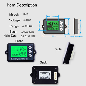 Image 2 - TK15 80V 350A 100A Coulomb metre pil test cihazı pil kapasitesi test cihazı Coulometer güç seviyesi göstergesi lityum pil göstergesi