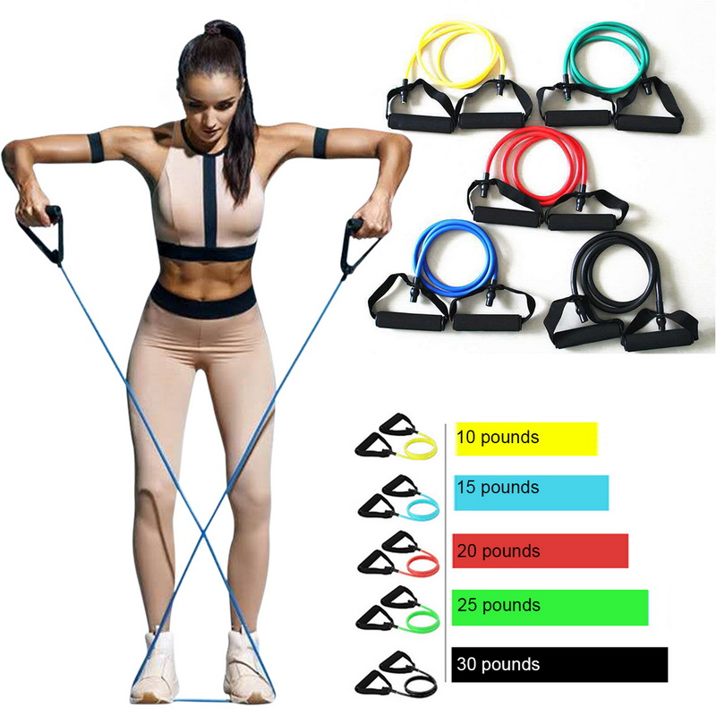 5 Levels  Elastic Band With Handles Yoga Pull Rope Elastic Gym Fitness Exercise Tube Band For Home Workouts Strength Training