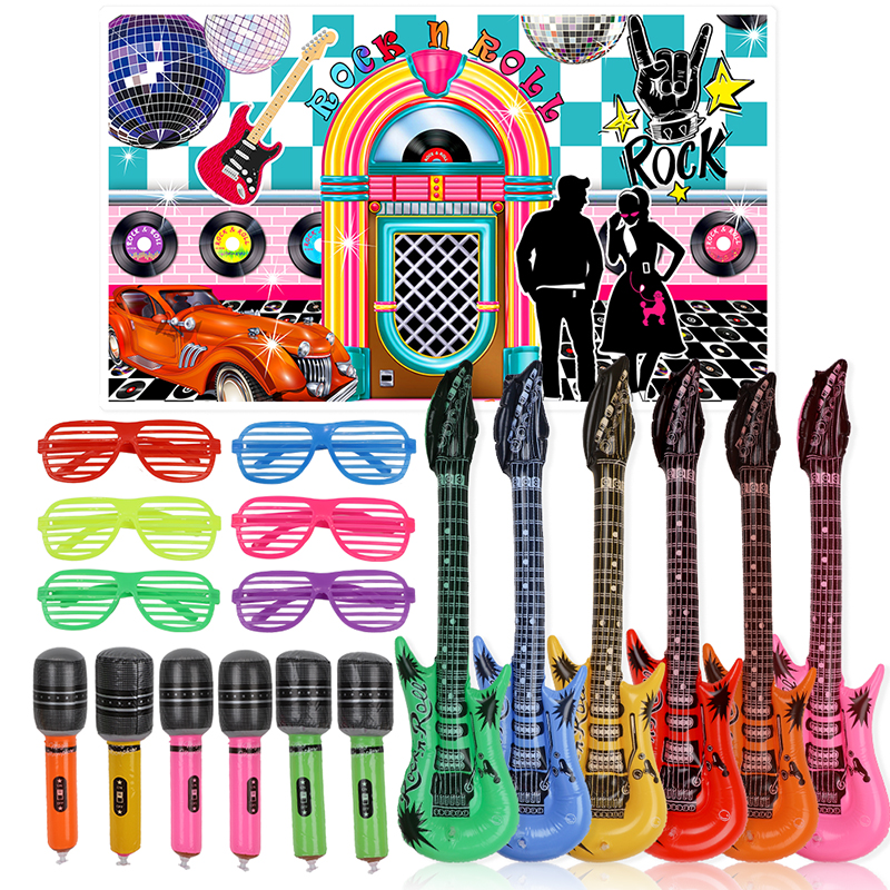 25pcs 50s Rock Party Supplies Rock and Roll Star Party Backdrop Rock Toy Set Music Party Props for Birthday Party decorationsParty DIY Decorations   -