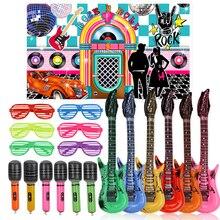 Fournitures de fête Rock 50s 25 pièces, ensemble de jouets Rock et rouleaux en toile de fond, Rock et étoiles, accessoires de musique pour fête danniversaire