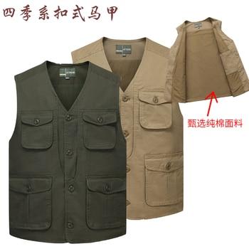 цена Plus Size Men's Denim Vest Casual Multi-Pocket Loose Jacket Outdoor Fishing Photographing Jean Waistcoat Vest Sleeveless Coat онлайн в 2017 году