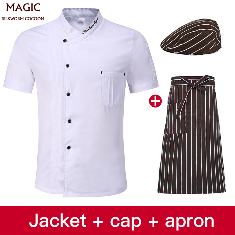 Hotel Uniform Men Cook Wear Chef Jacket Unisex Kitchen Chef Uniform Sets Bakery Food Service Short Sleeve Breathable Chef Tops