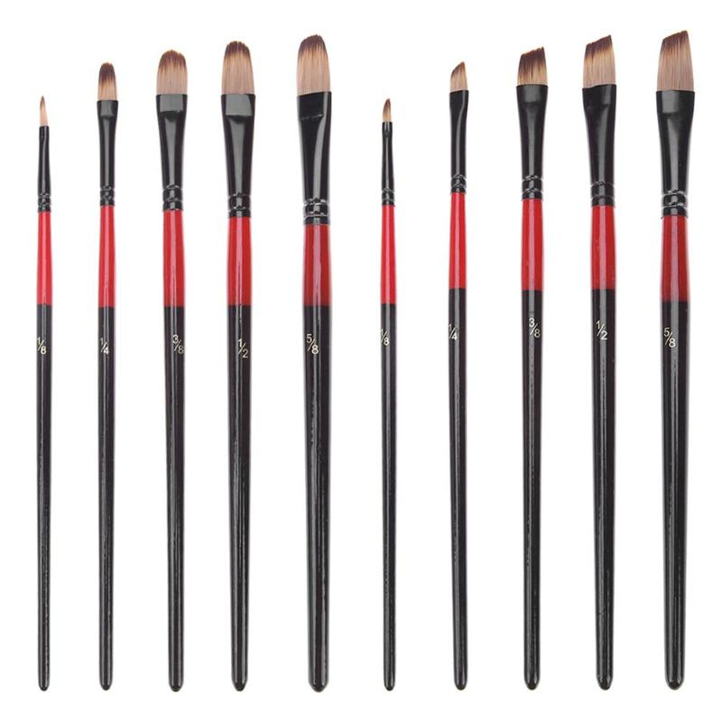 5pcs Nylon Hair Aluminum Tube Paint Brush Pen Set For Learning Oil Acrylic Watercolor Painting Art Paint Brushes Supplies New