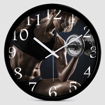 Creative women's sports and dumbbell fitness decorative clock gym decorated wall clock Bodybuilding
